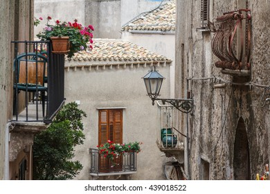 Narrow street of Erice medieval town, Sicily, Italy