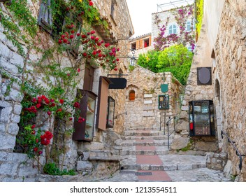 narrow street in medieval Eze on cote d'azur, french riviera, France