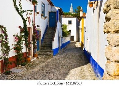 Narrow Street in the Medieval Portuguese City of Obidos