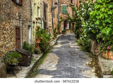 Narrow Street in the Medieval Village of Bargemon, Provence, France