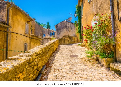 Narrow street in Menerbes village in France