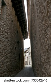 Narrow street in Mirambel in the Maestrazgo, Teruel, Spain