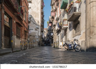 Narrow street in Naples. Bottom view.