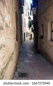 Narrow street in the old city of Kotor, Montenegro