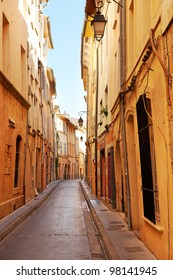 Narrow street in the old part of Aix en Provence, South France