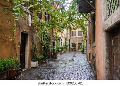 Narrow street in the old part of Rome. Trastevere. Italian facade