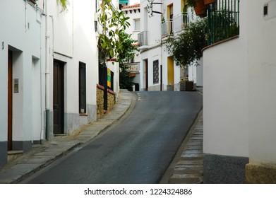 Narrow Street in the Old Quarter in Santa Susanna, Costa Brava Catalonia, Spain. European Union