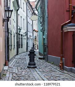 Narrow street in old Riga city, Latvian republic, Europe