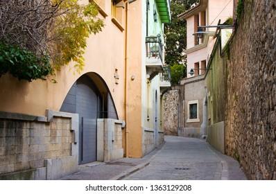 Narrow street in old town. Girona, Catalonia, Spain