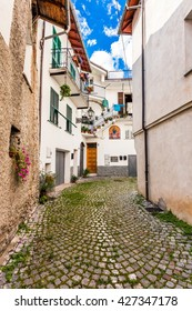 Narrow street in the old town. Italy