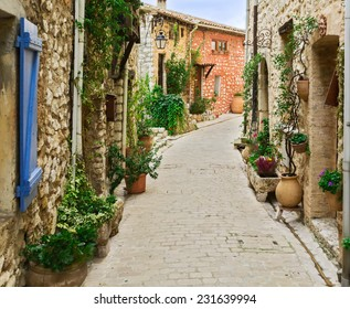 Narrow street in the old village Tourrettes-sur-Loup in France.