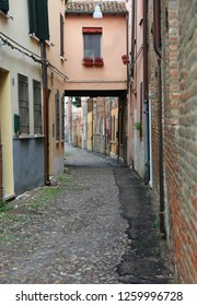 Narrow street on the italian city of Ferrara called Via delle Volte
