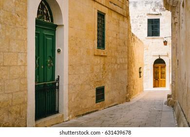Narrow street of Silent City, Mdina, Malta