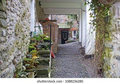 Narrow street in the small fishing village Clovelly in the northern part of Devon, England