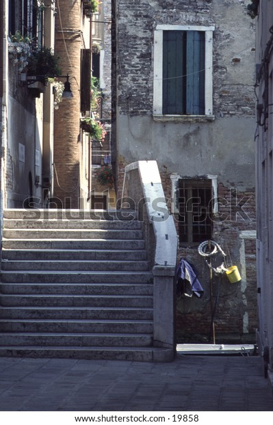 Narrow Street and Stairs in Venice