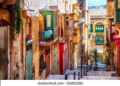 Narrow street in Valletta - the capital of Malta.