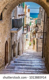 Narrow Street Of Vieste, Gargano Peninsula, Apulia region, Italy, Europe