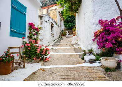 Narrow street in the village of Kritsa near Agios Nikolaos, Crete, Greece