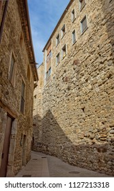 Narrow street in Besalú, which is a town in Girona province, Catalonia, Spain.