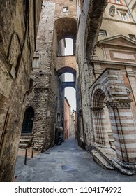 Narrow streets and arches in Perugia, Umbria Italy