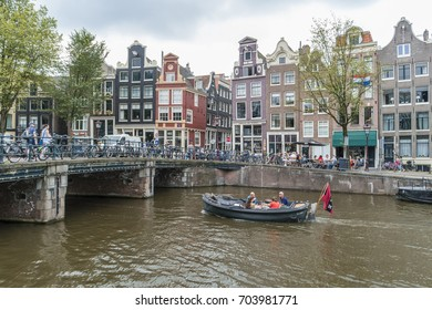 Narrow Streets and canals of Amsterdam central , Amsterdam Netherlands July 2017