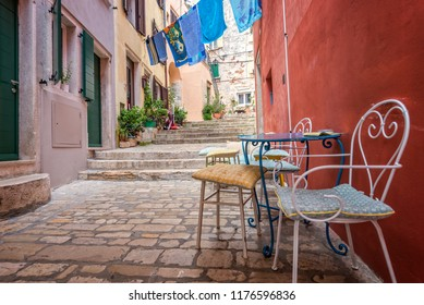 Narrow streets with cobblestone in Rovinj, Croatia