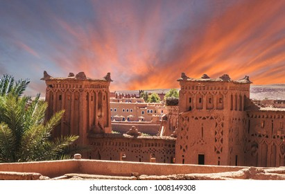 Narrow streets of Kasbah Ait Ben Haddou in the desert at sunset, Morocco