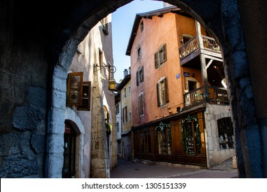 Narrow streets of the medieval town of Annecy, France