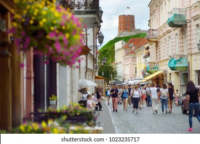 Narrow streets of the Old Town of Vilnius (Lithuania), one of the largest surviving medieval old towns in Northern Europe, UNESCO World Heritage Site