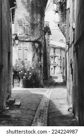 Narrow streets in an old village in the south of France (Provence)