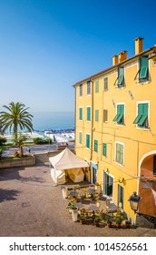 Narrow streets and traditional buildings of Celle Ligure, Liguria, Italy