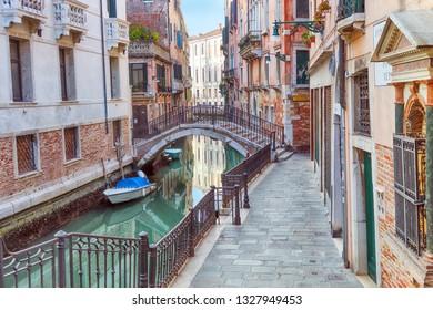 Narrow Streets of Venice. venetian historic canal