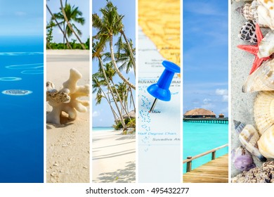 Narrow strips of images from Maldives island forming collage with white separating lines