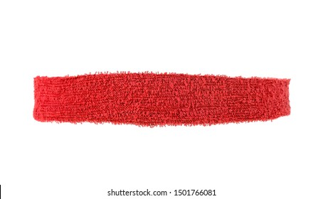 Narrow training headband isolated on a white background. Red color.