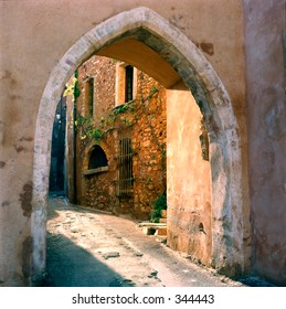 Narrow village street in Provence, south of France