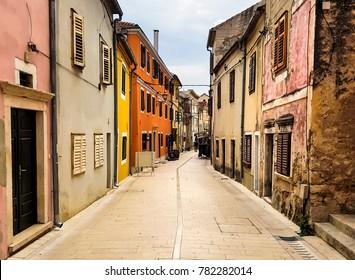 A narrow walking street of old touristic town, Skradin in Croatian Mediterranean Coast.