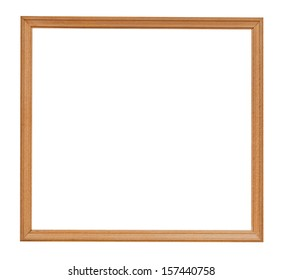narrow wooden picture frame isolated on white background
