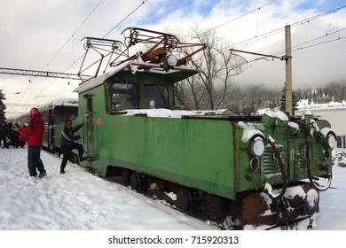Narrow-gauge railroad Borzhomi-Bakuriani in Georgia on January 24, 2016