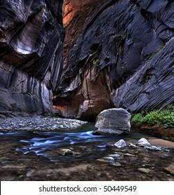 Narrows in Virgin River Canyon, Zion National Park, Utah, USA.