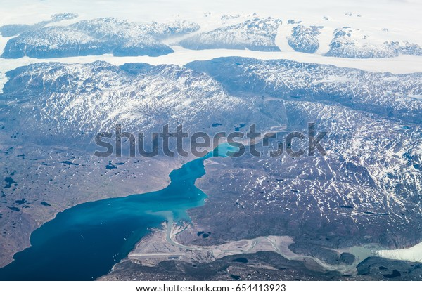 Narsarsuaq (Airport BGBW) and Brattahlid located on Eriksfjord - aerial view