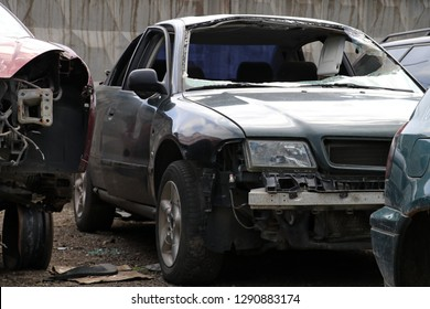Narva, Estonia , 2018-06-11 Car Junkyard.  Cars on  the  junkyard.