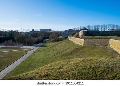 Narva, Estonia - Feb 2020: The inner yard of ancient Narva Herman Castle on Narova riverside.
