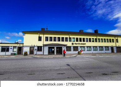 Narvik / Norway - July 2019: The train station of Narvik town in Northern Norway. Cold summer in Finnmark.