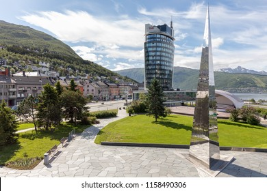 Narvik, Norway - July 8, 2018: Scandic hotel in Narvik, one of the tallest buildings in north norway.