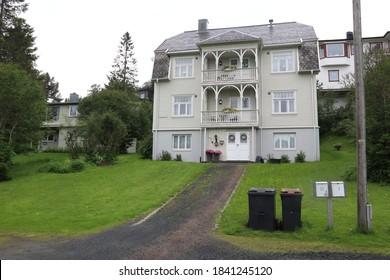 Narvik, / Norway - June 23 2019: Residential houses in Narvik, Norway