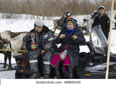 Naryan-Mar - 2 April, 2016. The national competition Nenets reindeer herders in the Pechora River. Russia, Nenets Autonomous Okrug, Naryan-Mar