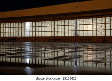 NAS hanger at night, Alameda, California, USA