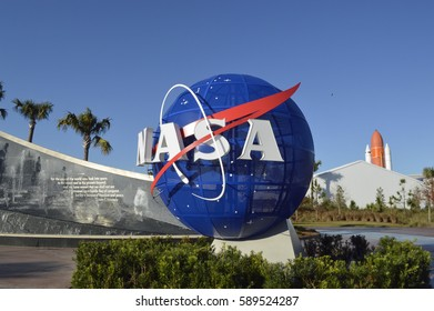 NASA logo at Kennedy Space Center  , Florida. 10th February 2016. For editorial use only