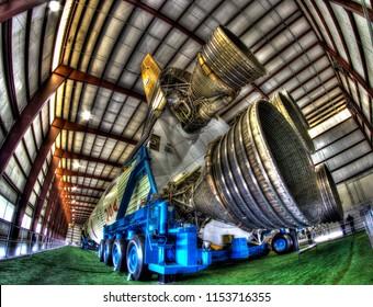 NASA'S Saturn V Rocket.  Rocket Park at Johnson Space Center, Houston, Texas.  February 15, 2018