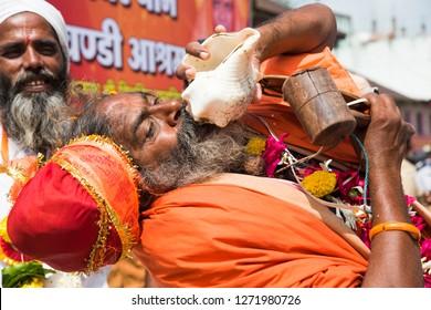 NASHIK, INDIA 27 AUGUST 2015 : Unidentified Sadhu the holy man in Procession of Simhastha Kumbh Mela at  Nashik, Maharashtra, India.